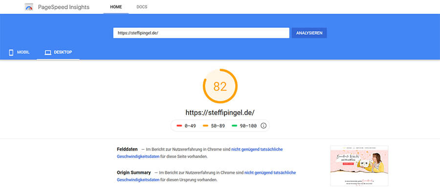 Pagespeed Insights von Steffi PIngel
