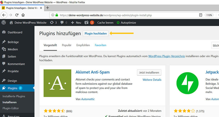 Premium WordPress Plugin hochladen