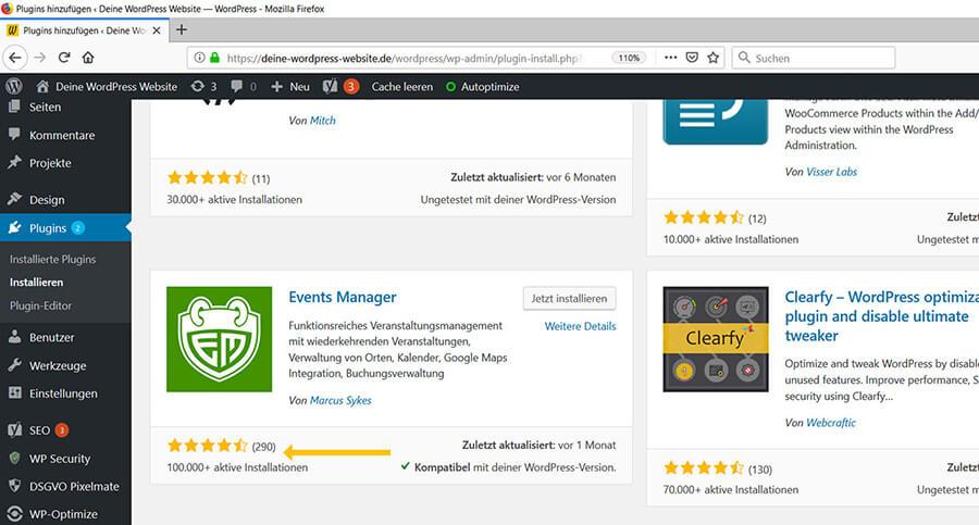 Bewertungen von WordPress Plugins