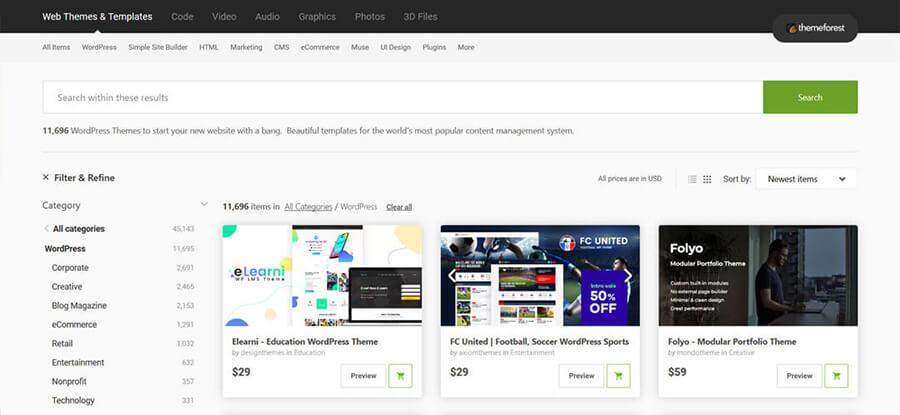 WordPress-Themes bei themeforrest