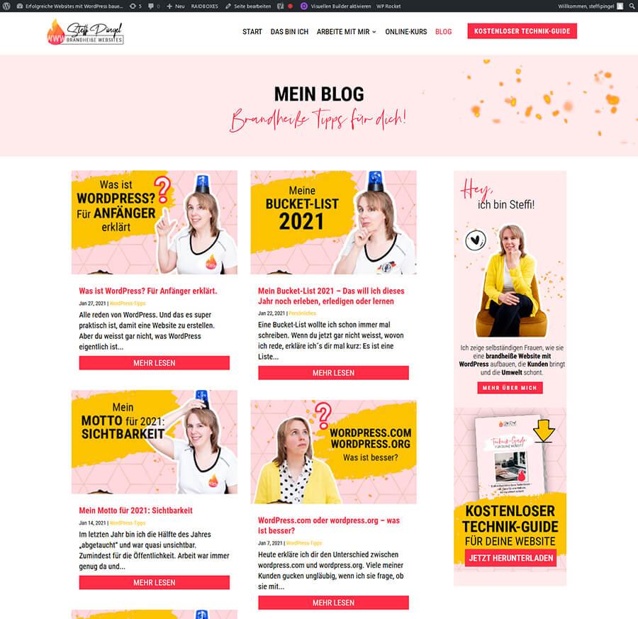 """Blogbeiträge auf einer Seite mit dem Divi-Modul """"Blog"""""""