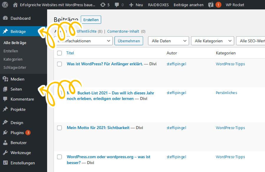 Seiten und Beiträge im WordPress Menü