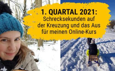 Rückblick 1. Quartal 2021: Schrecksekunden auf der Kreuzung und das Aus für meinen Online-Kurs